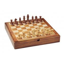 Coffret d'échecs en bois magnétique avec couvercle - grand modèle