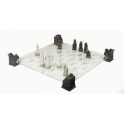 Jeu d'échecs Vampires et Loups-Garous avec plateau en verre