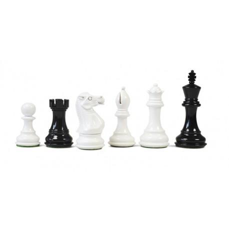 Pièces d'Echecs Stallion Black/White Laquered - Taille 5