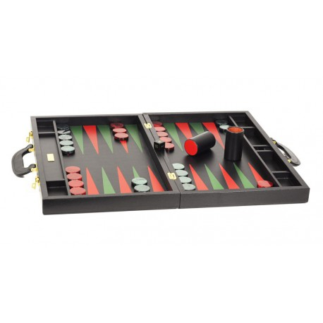 Backgammon en cuir noir grand modèle