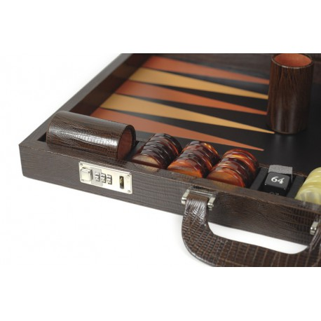 Backgammon marron façon lézard