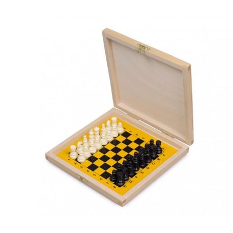Coffret d'échecs en bois magnétique avec pièces plastique - petit modèle