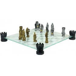 Jeu d'échecs Dragons perlés avec échiquier en verre