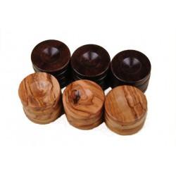 Pions de Backgammon Olive marron petit modèle