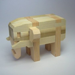 """Casse-tête ou puzzle japonais traditionnel en bois """"Elephant"""""""