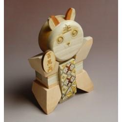 """Casse-tête ou puzzle japonais traditionnel en bois """"Lucky cat"""""""