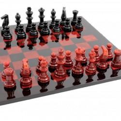 Jeu d'échecs Luxe Albâtre Rouge 37cm
