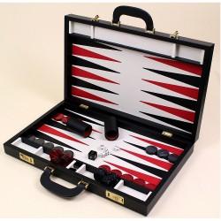 Backgammon 58 cm cuir rouge et noir