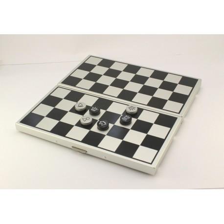 Coffret d'échecs en métal magnétique pliant, pions plats
