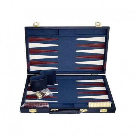 Backgammon classique 38 cm. Bleu
