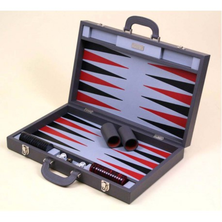 Backgammon Cuir Gris anthracite 50cm
