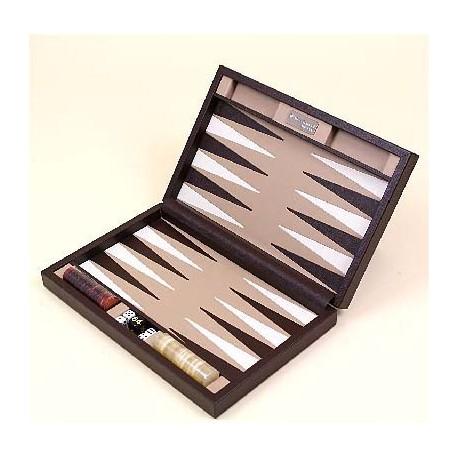 Backgammon cuir marron voyage 33cm