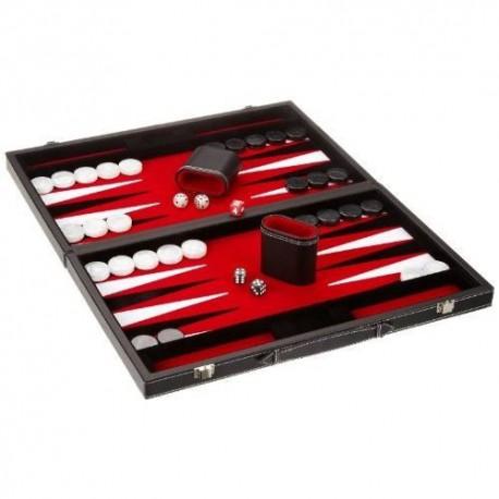 Backgammon simili cuir noir, intérieur rouge, grand modèle