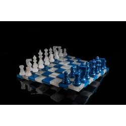 Jeu d'échecs en Albatre 3d Bleu/Blanc 32x32