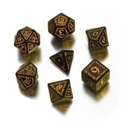 Set de 7 dés Runic noir et jaune