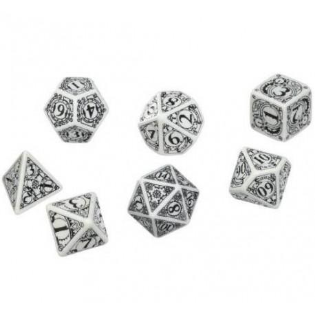 Set de 7 dés Steampunk noir et blanc