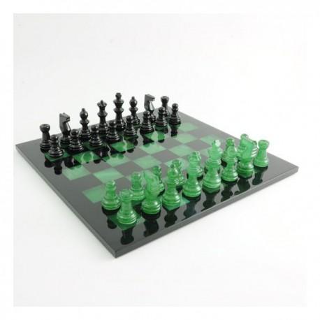 Jeu d'échecs en albâtre vert