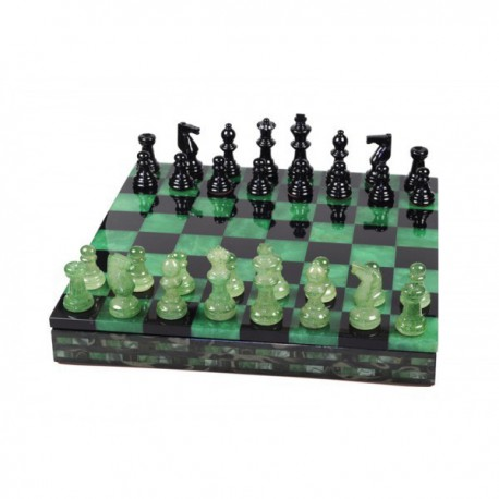 Coffret d'échecs luxe albâtre vert 25cm