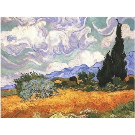 Puzzle 1000 pièces - Champ de blé avec Cyprès de Van Gogh