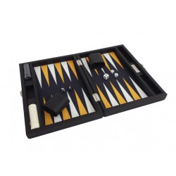 Backgammon Simili Cuir Black-Yellow Deluxe Grand Format