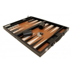 Backgammon Simili Cuir Black Deluxe Grand Format