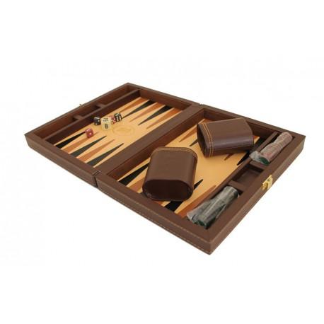 Backgammon Simili Cuir Brown Deluxe Petit Format