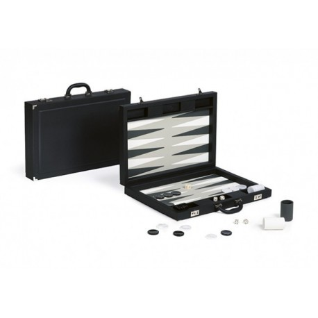 Backgammon Simili Cuir Black Deluxe Grand Format