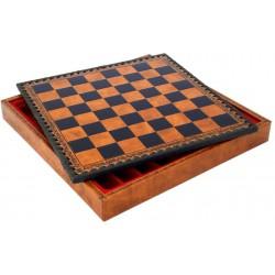 Coffret d'échecs simili Cuir Brun Deluxe 48cm