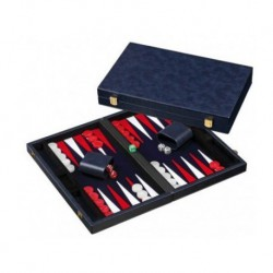 Backgammon Simili Cuir 38cm Bleu Nuit