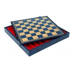 Coffret d'échecs simili cuir Bleu 35x35cm