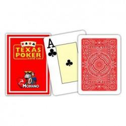 Cartes à jouer Poker Texas Plastic Modiano - Rouge