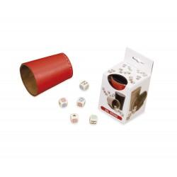 Poker Menteur Simili Cuir Rouge (Gobelet+Dés)