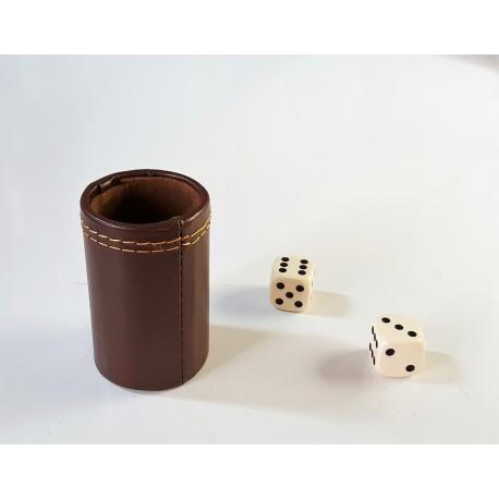 Gobelet Backgammon Simili Cuir Brun
