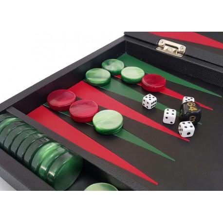 Backgammon de luxe cuir noir