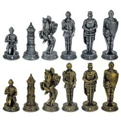 Figurines d'échecs Chevaliers doré/argenté - Taille 3.5