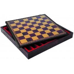 Coffret d'échecs simili cuir Rouge - Taille 3.5