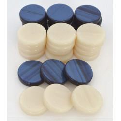 Pions Backgammon perlé bleu petit modèle ( 2.5 cm)