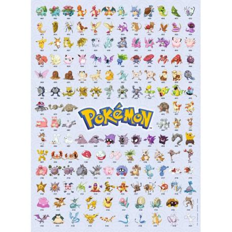 Puzzle 500 pièces Pokémon - Pokédex 1ere Génération