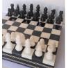 Coffret d'échecs de luxe en albâtre noir et blanc 25cm