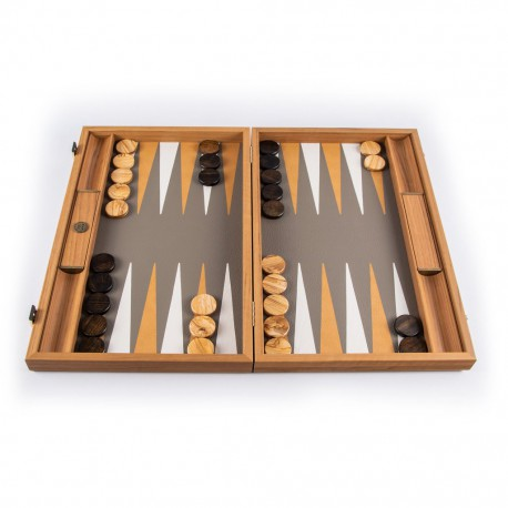 Backgammon Simili Cuir Beige-Gris