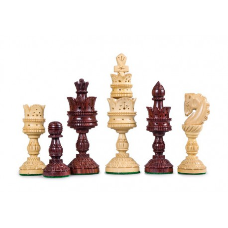 Pièces d'Echecs Lotus carved red palisander - Taille 5.5