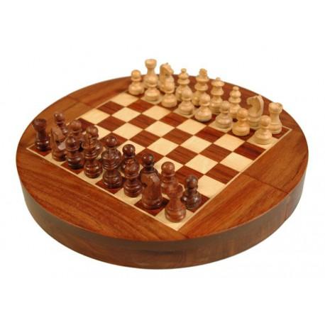 Jeu d'échecs magnétique rond en palissandre 25cm