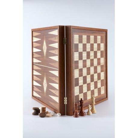 Echecs & Backgammon Coffret Classique 27cm - Simili Bois