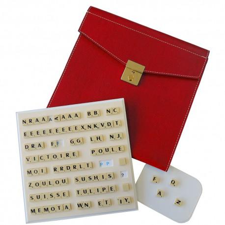 Scrabble Magnétique Duplicate Cuir Rouge