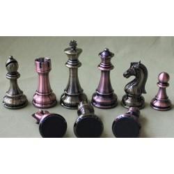 Pièces d'Echecs Métal Couleur Bronze et Argent - Taille 6