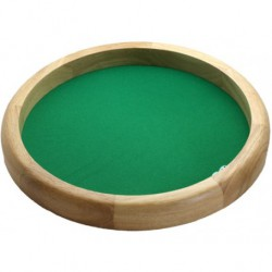 Piste de dés ronde en bois naturel - 34 cm