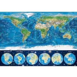 Puzzle 1000 pièces - Carte du Monde Néon