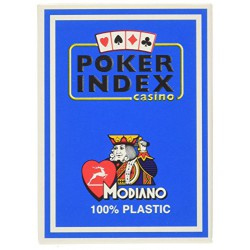 Cartes à jouer Poker Index Casino Modiano Bleu - 100 % Plastique