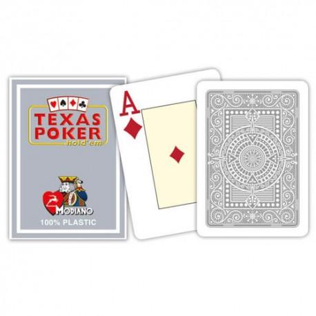 Cartes à jouer Texas Poker Modiano Grey - 100 % Plastique