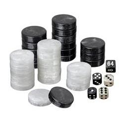 Pions de Backgammon Nacré Noir & Blanc - 28mm
